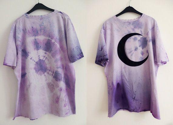 amethyst sorcerer  moon shirt / pastel tie dye shirt by mermaidEYE