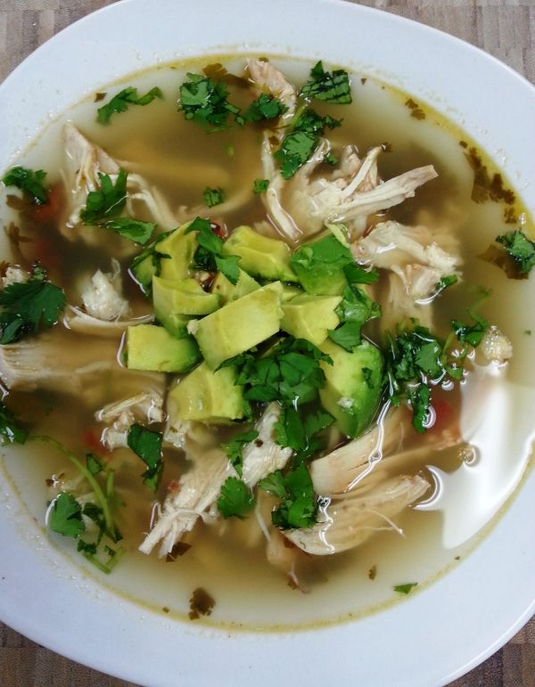 Cilantro Lime Chicken Soup (rice cooker) Topped with avocado for an even more delicious meal!