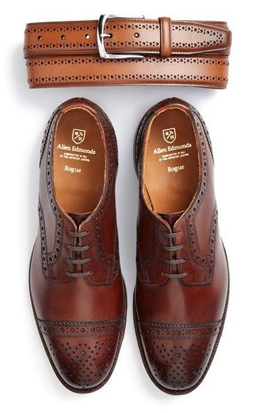 Allen Edmonds Brogue Leather Belt & Cap Toe Derby (Men) Brogue detailing defines a handsome leather belt with a polished buckle. Richly burnished leather shapes a clean-cut derby stamped with classic brogue details. #picsandpalettes #AllenEdmonds #Nordstrom