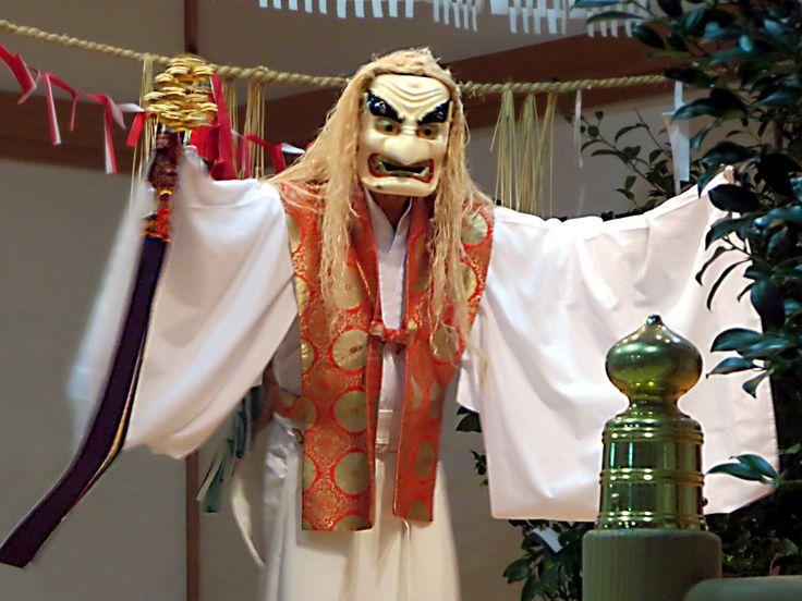 The Yokagura sacred dances performed for tourists at Takachiho on Kyushu Island, Japan, are based on Shinto creation myths.
