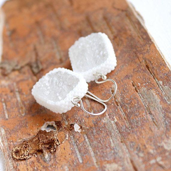 Snow White Druzy Beadwork Earrings Drop Dangle by balanced on Etsy