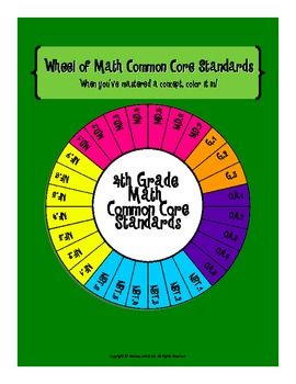 This fun wheel of standards includes all 28 Common Core math standards for 4th grade. Display the colorful copy in your classroom and provide each student a copy of the blackline master to keep in their math notebook. When students have mastered a concept have them color in the appropriate piece of the wheel. This will help encourage kids to be accountable for their own learning and keep them motivated to master every concept!