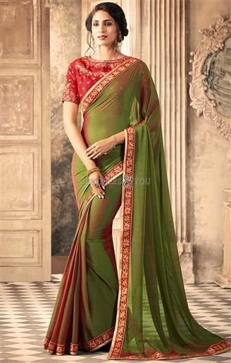 Bordered Olive Green Party Wear Saree In Georgette For Mehendi