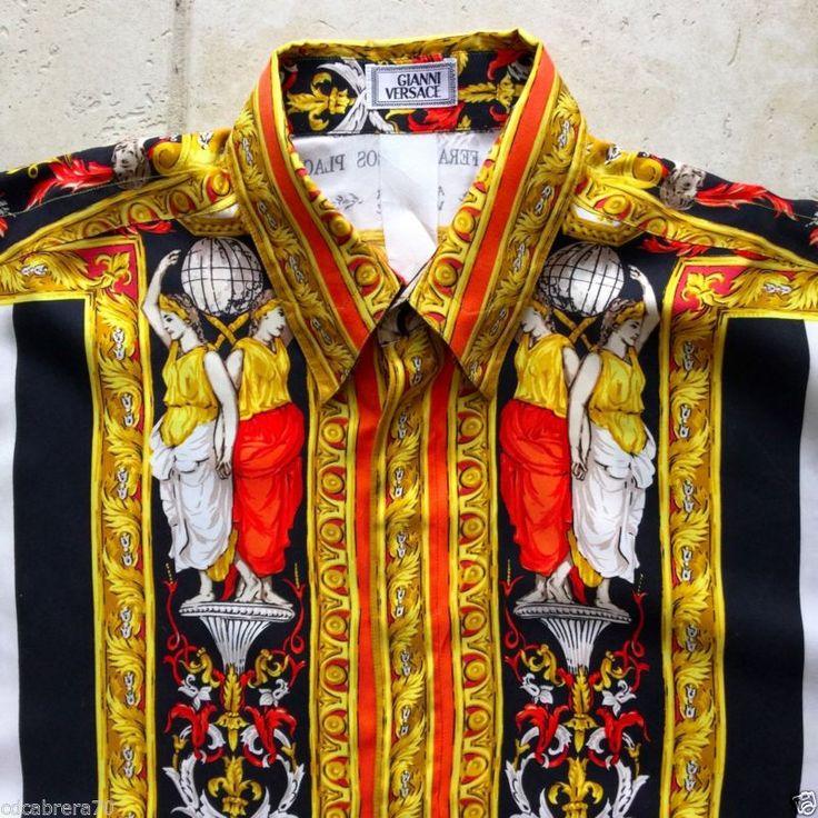 vintage GIANNI VERSACE silk shirt VERSACE TAPESTRY print size 46 style worn Tyga