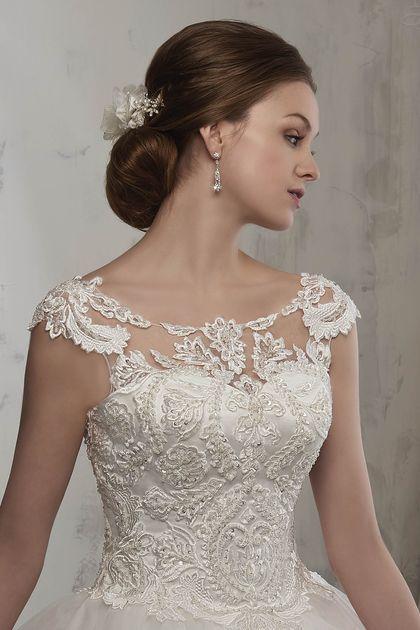 2019 vestidos de novia Tulle cucharada con Applique vestido de bola tren de la c…