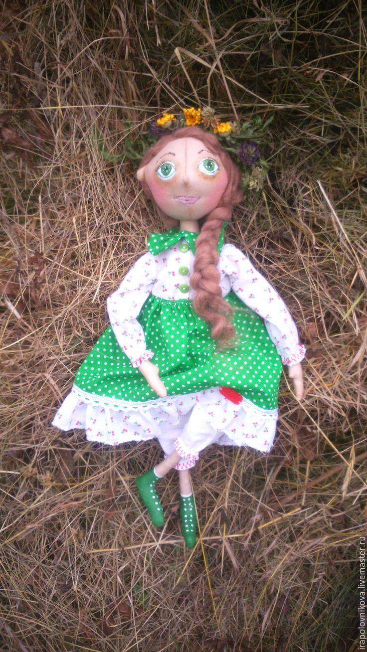 Купить Настенька - фея полевых цветов. - тёмно-зелёный, зеленый, белый, красный, сухоцветы, ромашка