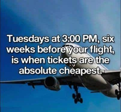 I've heard this tip a lot but I'm always pretty nervous to wait til six weeks before a trip to buy my ticket! I do find the Tuesday part to be 100% true in my experience. I've also heard that we should be clearing our browser cache before searching for flights – that way the airlines don't know you've already been searching because apparently when they do they hike their prices up. The more you know!
