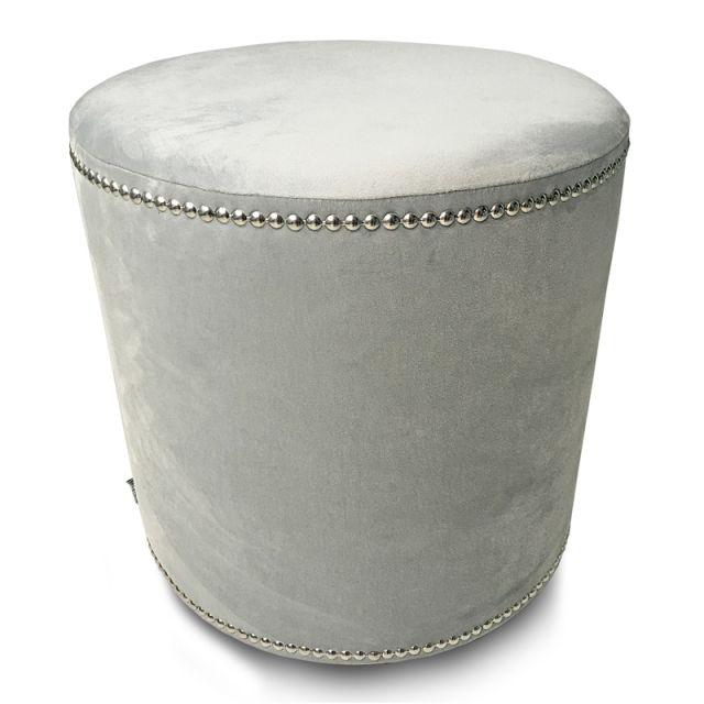 Velvet Glamour Silver Pouf #poufs #interiors #homedecor #mialiving