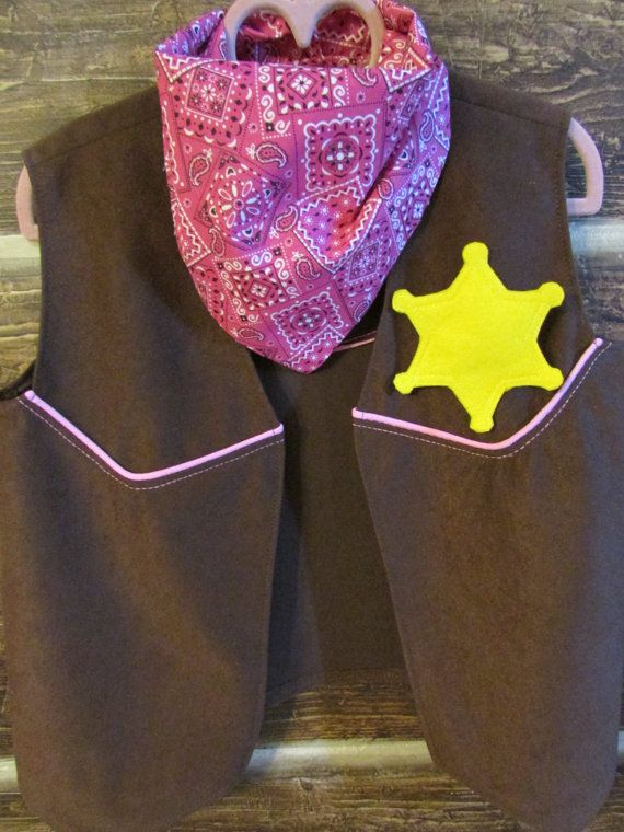 It is so much cutier in person! So well made perfect for your Sheriff Callie Fan! Disney Sheriff Callie Look Alike Western Vest For by ChildSewSweet, $20.00
