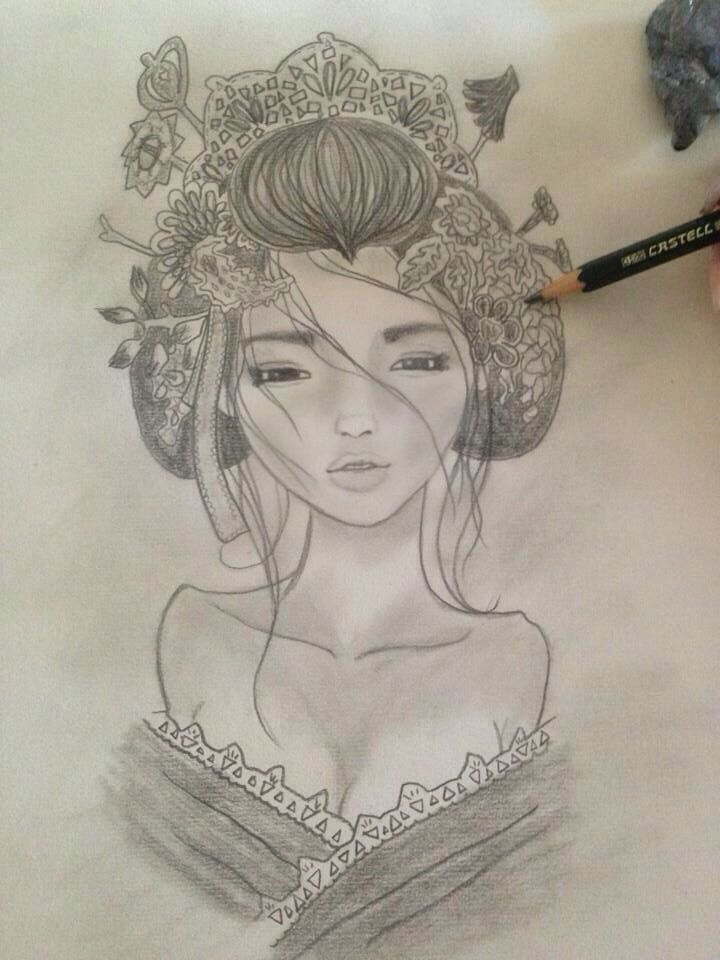 geisha by me art dibujo a carboncillo draw more