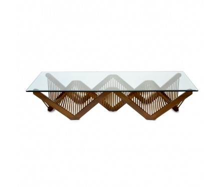 Geo Rectangular Cocktail Table With Glass with Lauan Wood - from The Philippines