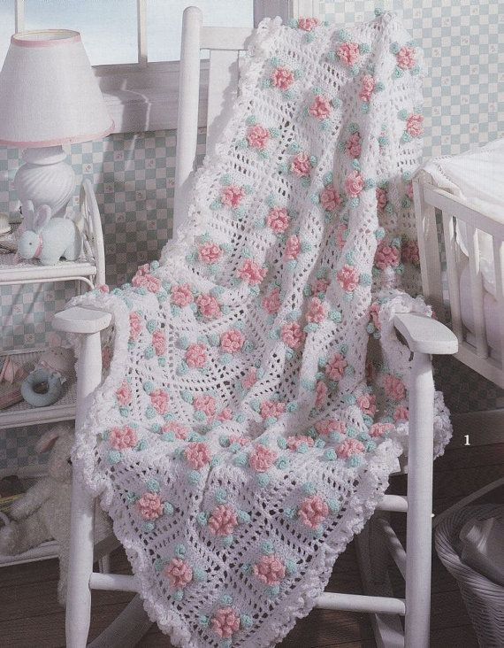 ❤❤❤ FLORAL CURLS AFGHAN ❤❤❤ Delicately designed pattern - Lacy blanket was made with so much love - 5 more design patterns to choose from ~ Crochet Baby Blanket / Afghan