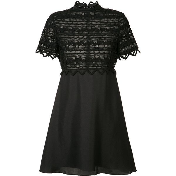 Zac Zac Posen - high neck lace dress - women - Cotton/Polyester - 6 (€460) ❤ liked on Polyvore featuring dresses, black, lace dress, circle skirt, short circle skirt, skater skirt and short-sleeve dresses