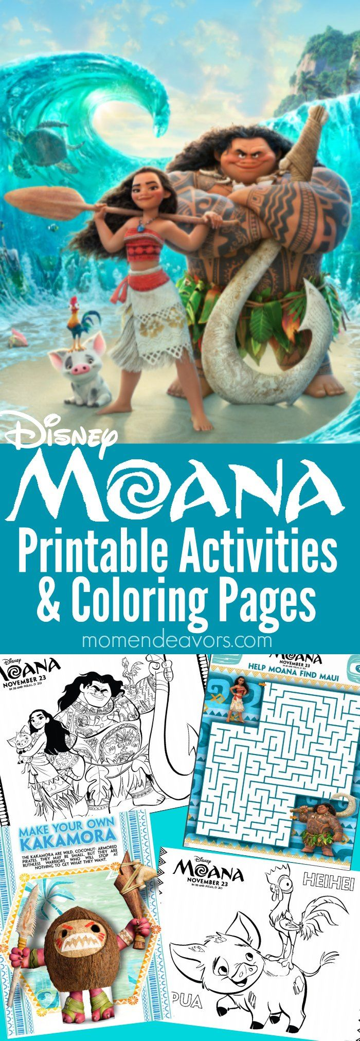 Disney MOANA Printable Activities and coloring pages - kids will love these free printables, perfect for a MOANA party or movie night. Also perfect Disney trip activity or for a family trip to Hawaii!