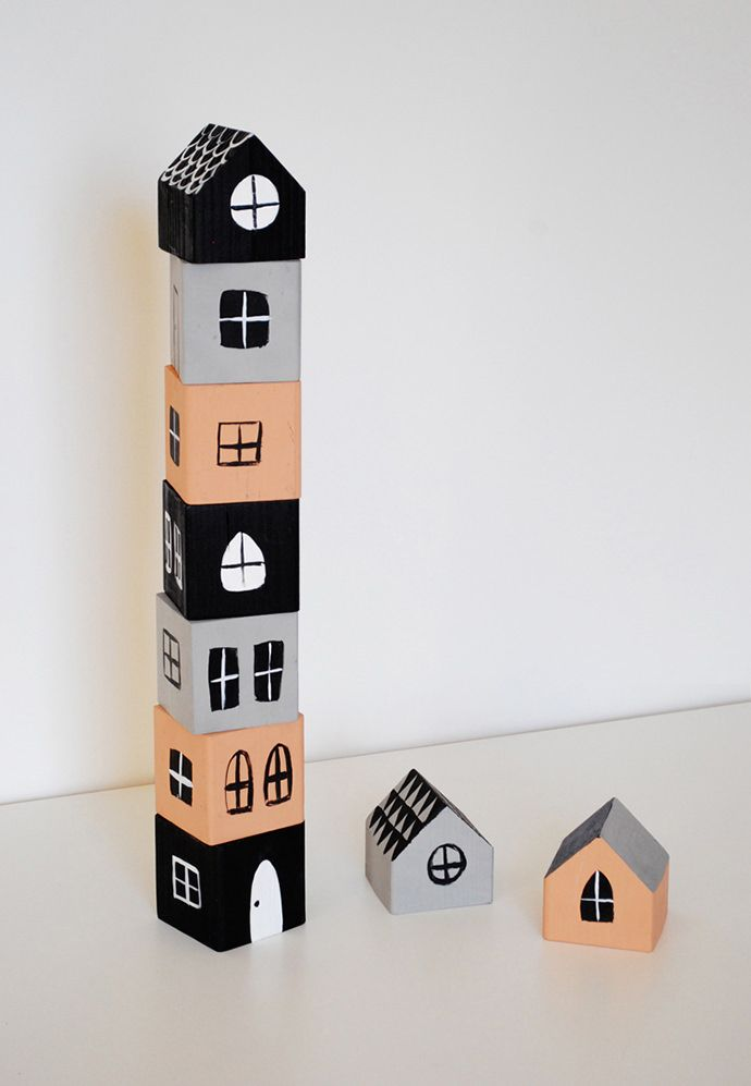 DIY Stacked Houses Building Blocks