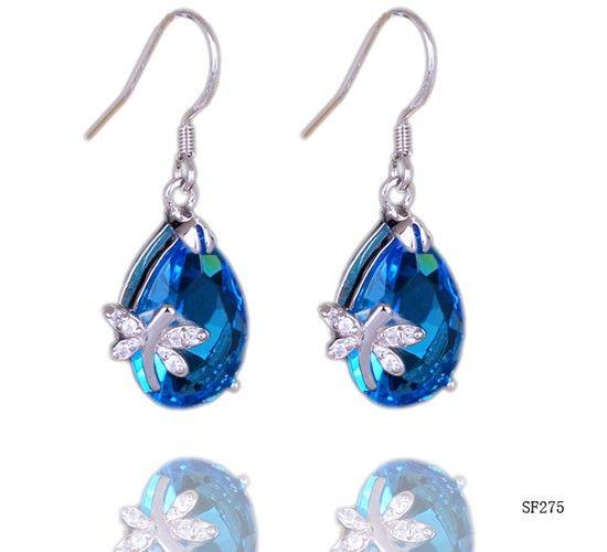 $3.18 32mm Dragonfly Blue Crystal Dangle 925 Sterling Silver Charm Earring Eardrop