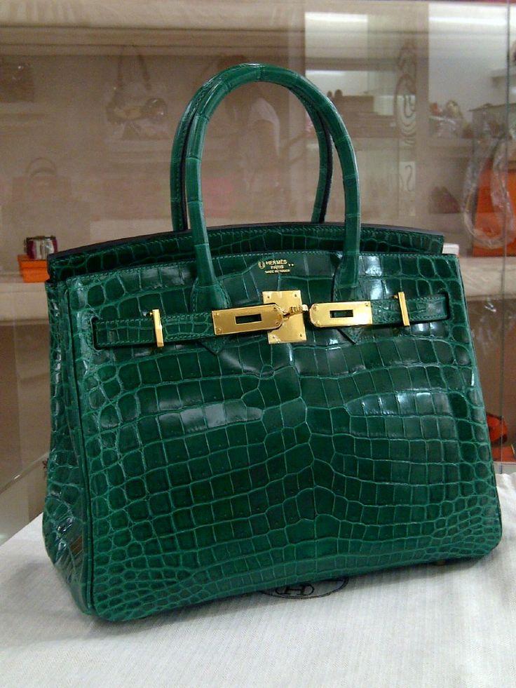 Hermes Birkin 30 Croco Nilo Shiny Horse Shoe Emerald Ghw