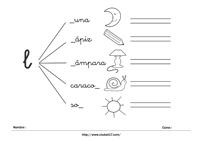 Ficha para imprimir iniciación a la lectura - letra L