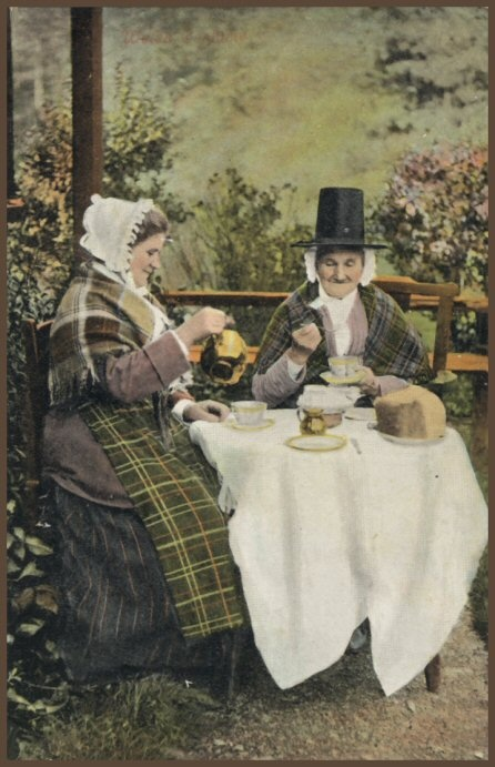 Открытка другу, открытка чаепитие в хоббитшире
