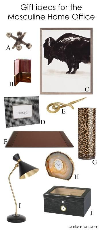 10 Must-Have Decor Gift Ideas For Your Masculine Home Office! Gift ideas for the man in your life.