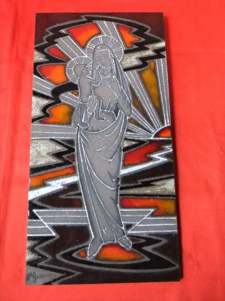 Tableau céramique émaillée  pierre de lave signé peinture vierge à l'enfant