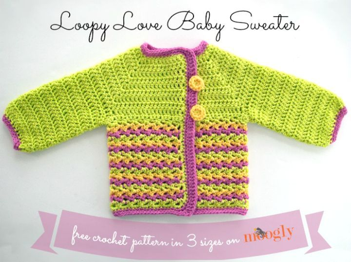 d4ef86c41 14 Free Crochet Sweater Patterns for Babies
