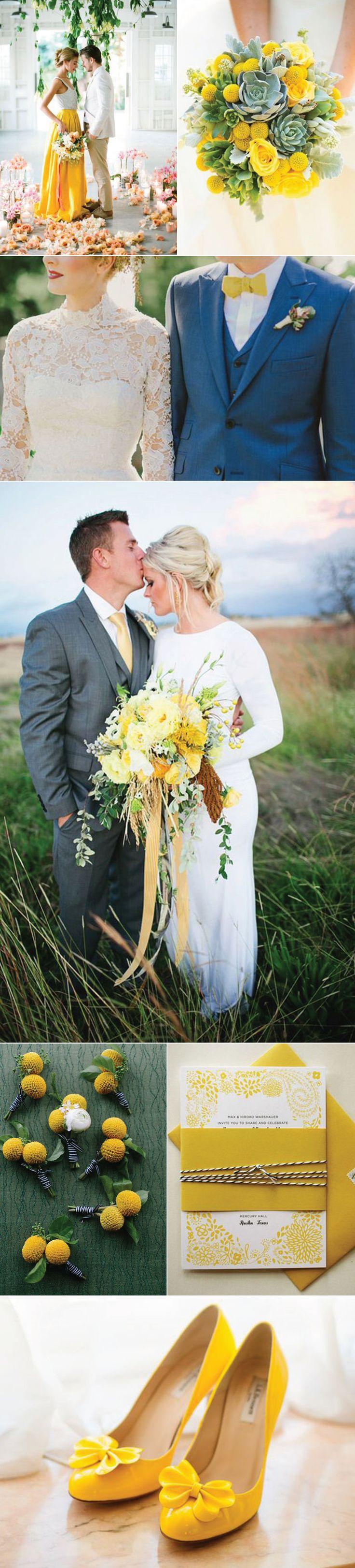 Yellow wedding inspiration. The yellow ties on these groomsmen look so good.