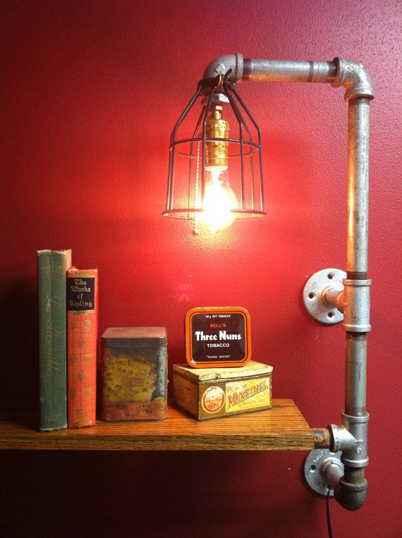 Pipe lamp light with shelf using upcycled parts - by FrontPorchBlues on Etsy.