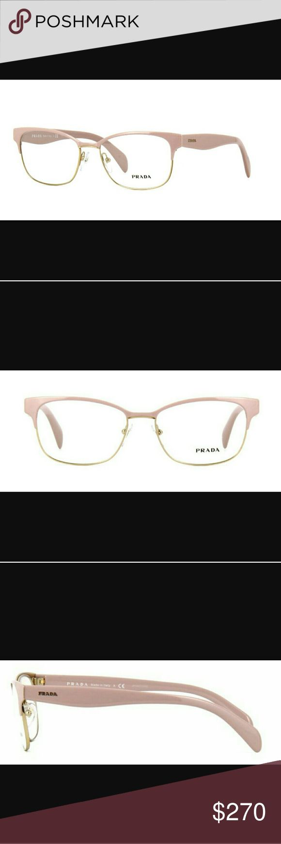 Prada frames Beautiful classy and delicious cotton candy pale pink top of frame and temples. And a gold bottom half. Which makes you able to wear with everything. They say Prada on each temple. And are more gorgeous on if you could even imagine that. Brand new never worn comes with authentic Case cleaning cloth and proof of authenticity. Prada Accessories Glasses