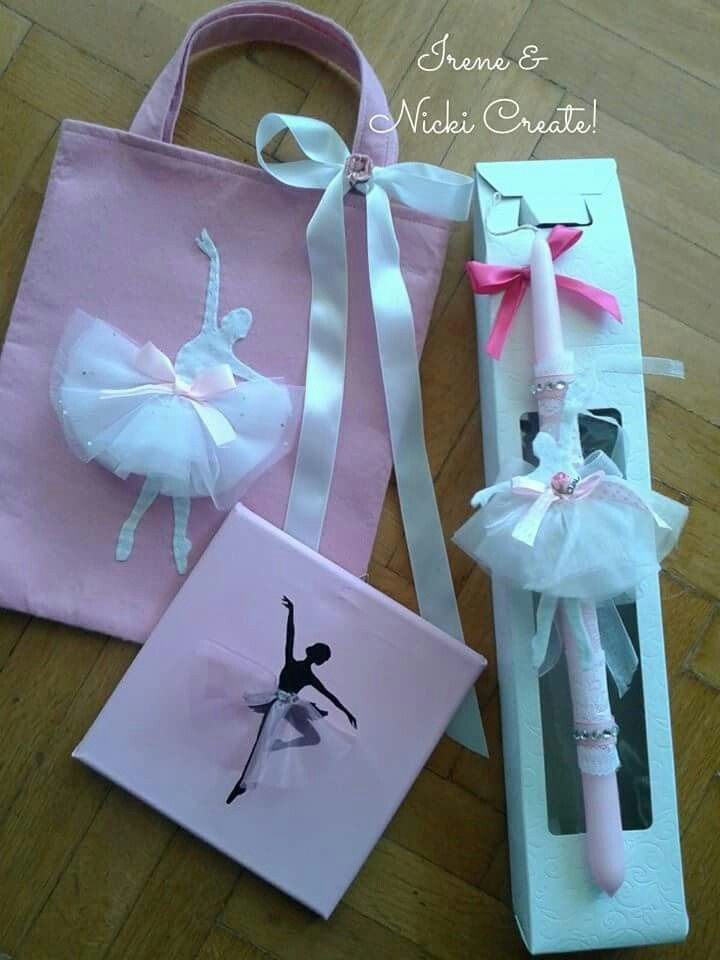 Ballerina Easter Set. Easter candle, felt gift bag and 20x20cm canvas.