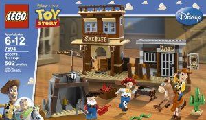 "LEGO Toy Story Woody's Round Up (7594) by LEGO. $74.95. Set includes 3 minifigures:   Sheriff Woody, Jessie and Stinky Pete. 502 pieces. Bullseye with bendable legs. Jail with exploding wall and sheriff?s office with safe and handcuffs. Catapult trap on the pavement between the jail and the sheriff office. From the Manufacturer                ""Run like the wind, Bullseye.""  With only moments to spare, Sheriff Woody and Bullseye save Jessie from the gold mine wired with dynam..."
