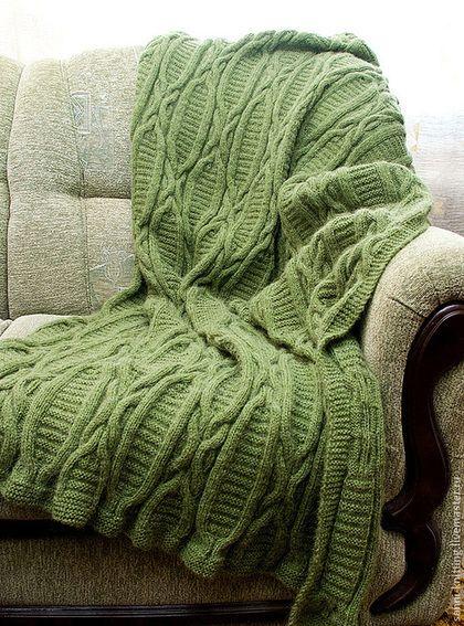 """Текстиль, ковры ручной работы. Ярмарка Мастеров - ручная работа. Купить Вязаный плед """"Папоротник"""". Handmade. Зелёный, покрывало"""