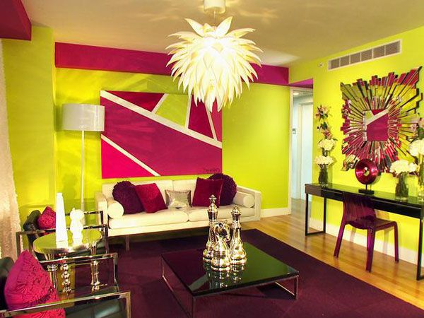 Pink and purple living room designed by david bromstad for David bromstad living room designs