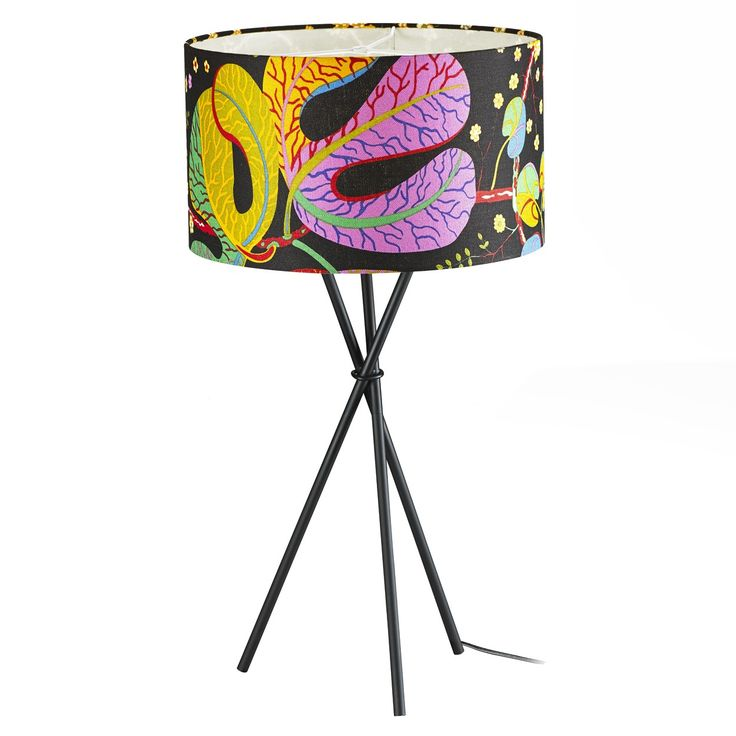 Nat Blomst Drum Table Lamp - The Design is Inspired by Josef Frank  -This Table Lamp has a very colorful and uniquely patterned, 100% linen shade. The design boldly stands out in any decor. The drum shaped shade perfectly diffuses light to create a warm and relaxing glow, while the minimal, tripod shaped, metal stand creates the perfect balance of chic and beauty. This colorful lamp will lighten up you room weather it is on or off.