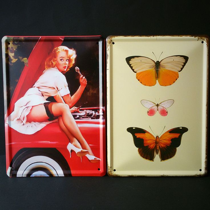 Lámina de metal de estilo retro, ideal para decorar con un toque vintage las paredes de tu casa. Dos diseños disponibles: pin up y mariposa.
