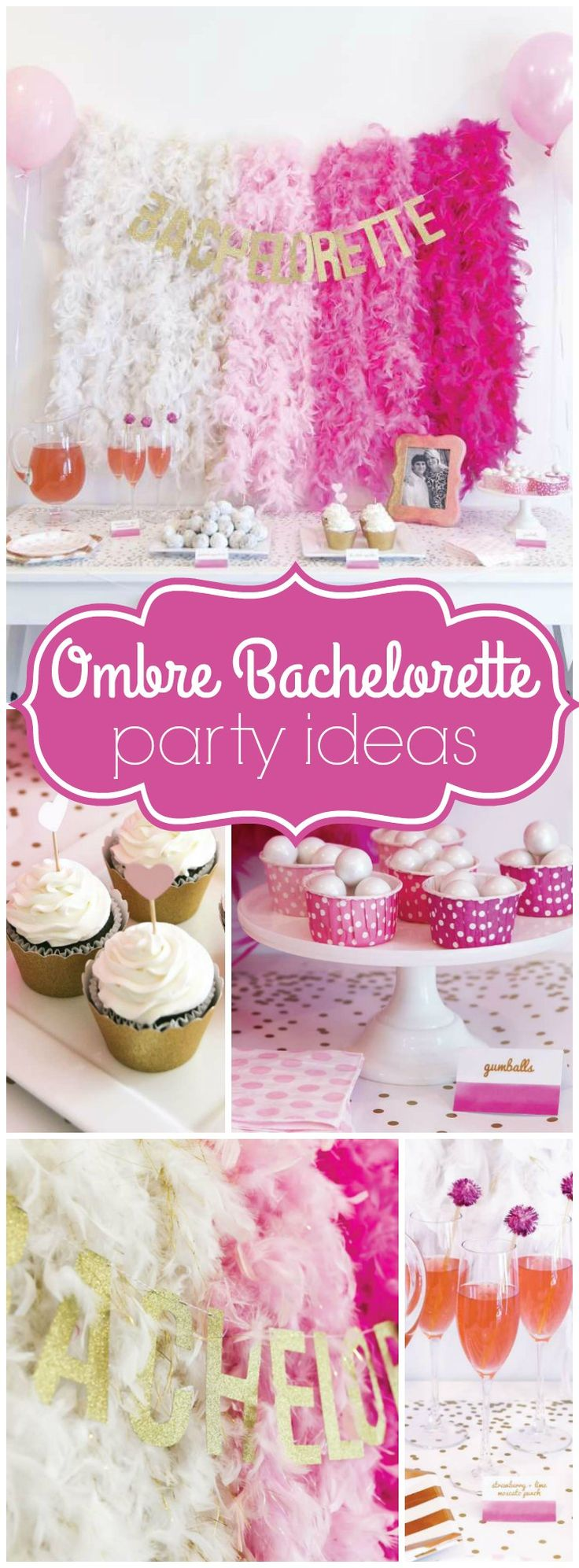 How gorgeous is this pink and gold ombre bachelorette party! See more party ideas at CatchMyParty.com!