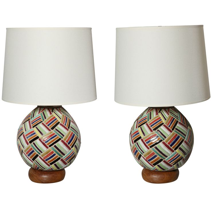 pair of ceramic lamps - usa - 1960s - HEIGHT: 	13 in. (33 cm)  DIAMETER: 	9.5 in. (24 cm)