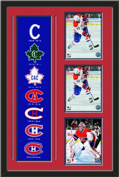One framed Montreal Canadiens heritage banner with three 8 x 10 inch Montreal Canadiens photos of your choice, double matted in team colors to 22 x 34 inches.  The lines show the bottom mat color. $189.99  @ ArtandMore.com