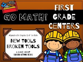 "Free first grade math center focusing on subtracting multiples of ten. First of the Month Freebie for May 2017!    Directions: Place the ""New Tools"" and ""Broken Tools"" cards next to each other. Shuffle the small subtraction cards and stack them in a pile. Choose one card at a time. If it is true, place it under ""New Tools."" If it is false, place it under ""Broken Tools."""