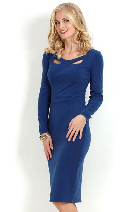 Blue dress. Autumn  dress. Dark blue  Dress case. Blue dress for the office. Blue dress for business women . Jersey dress for women.