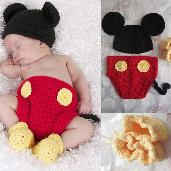 Infant Newborn Baby Crochet  Mickey Mouse Hat&Bottoms Set Photo Prop Costume 0-6 month,baby photo prop,newborn photo prop, infant prop on Etsy, $20.99