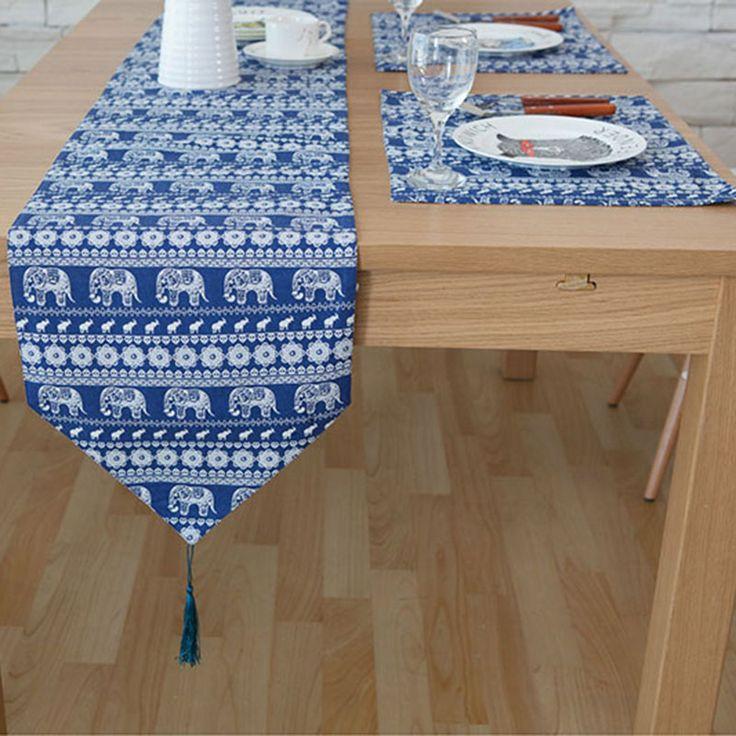 Original design Southeast Asian Table Runner American luxury Table Runners blue small dining table runners flag bed tafelloper