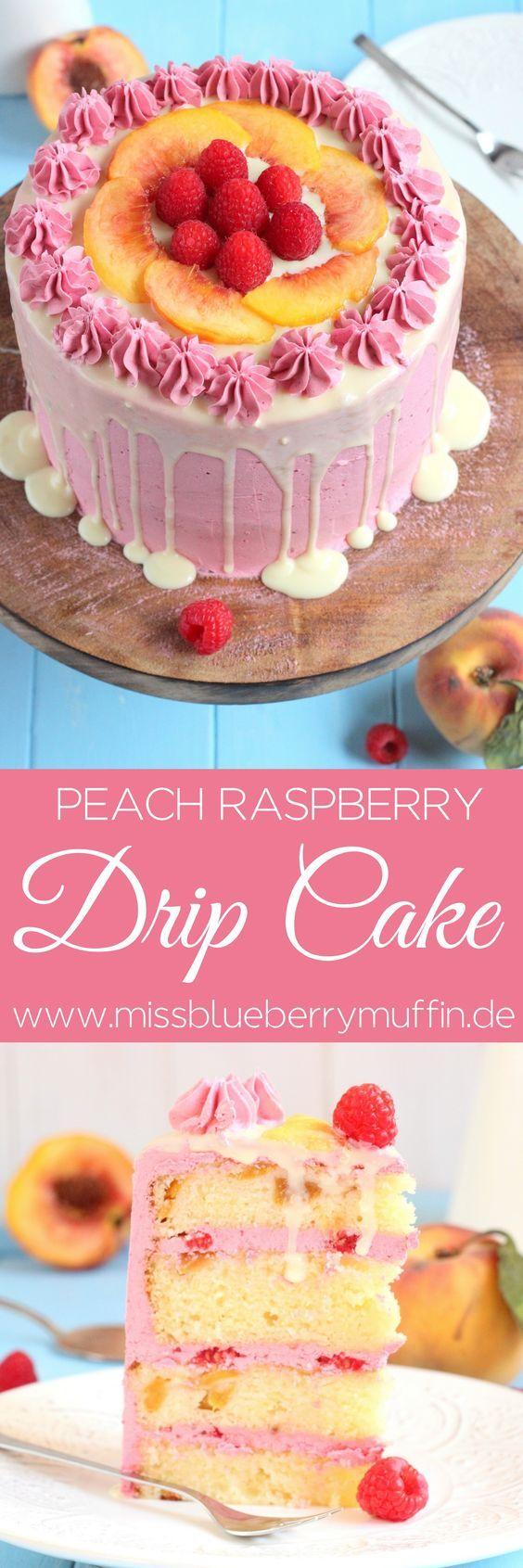 Pfirsich Himbeer Torte // Peach Raspberry Drip Cake <3  Wunderteig   Italienische Buttercreme mit Marmelade