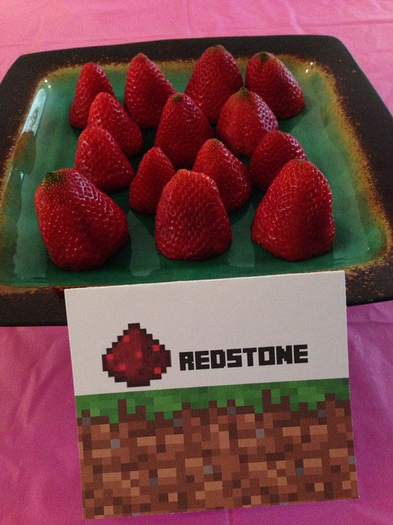 Minecraft Party Redstone Food Sign Tent and Topper Labels for Birthday Party Favors