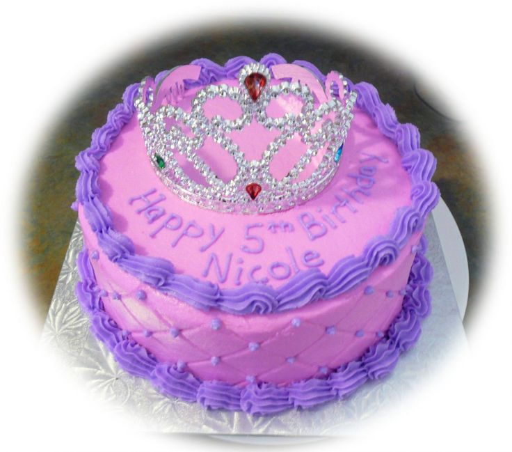 "Pink and Purple princess cake - 8"" round cake using the diamond impression mat."