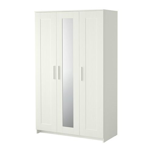IKEA BRIMNES Wardrobe with 3 doors White 117x190 cm The mirror door can be placed on the left side, right side or in the middle.