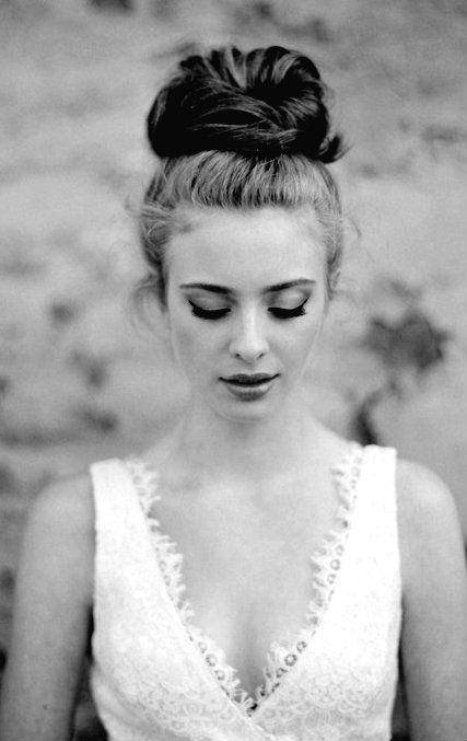 Bridal Hair - 25 Wedding Upstyles & Updo's - Achieve this effortless top knot, with your hair neatly pulled up and a bun wrapped on the top of your head.
