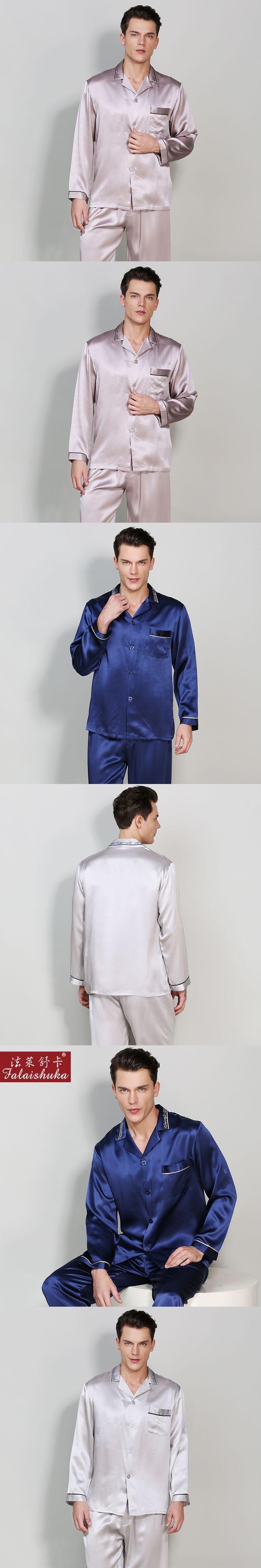 100% Silk Stain Men's Pajamas sets2017Autumn solid chinese style Long-Sleeve Male Pajama Pants Sets Blue Silk Pyjama Sleepwear