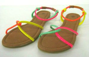 LADIES SPOT ON MULTI NEON COLOURED FLAT SUMMER SANDALS F0674 TWO ...
