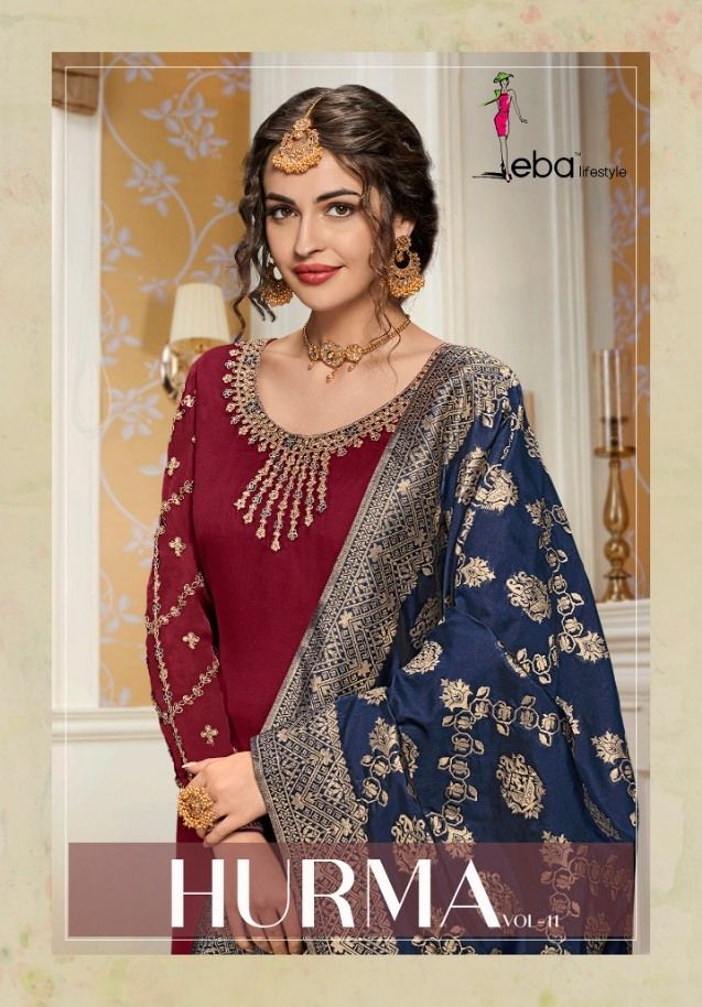 aa315039aa EBA LIFESTYLE HURMA VOL 11 PURE SATIN GEORGETTE WITH EMBROIDERY WORK DRESS  MATERIAL COLLECTION